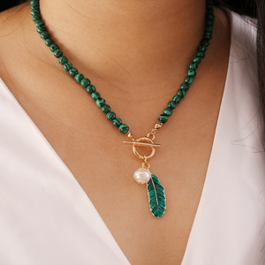 Malachite Alloy Leaves Pearl Drop Oil Women Necklace New Retro Fashion Green Color Stone Necklace Wholesale