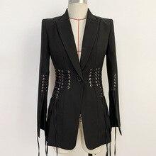 Новинка, осенне-зимний черный приталенный Блейзер на одной пуговице с металлическим отверстием и перекрестной шнуровкой, сексуальный модный элегантный Блейзер