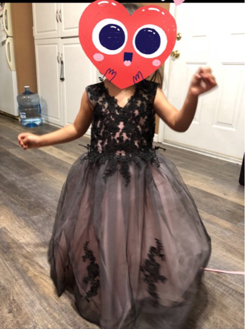 Image 4 - V Neck Black Ball Gowns Floor Length Lace Embroidery Girls  Pageant Dresses First Communion Dresses For Kids Birthday Party  PromFlower Girl Dresses
