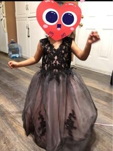 Image 4 - V צוואר שחור כדור כותנות באורך רצפת תחרה רקמת בנות תחרות שמלות ראשית הקודש שמלות לילדים מסיבת יום הולדת לנשף