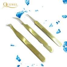 Zestaw pincet Quewel z przedłużoną pęsetą antystatyczną pincetą ze stali nierdzewnej precyzyjne, kwasoodporne narzędzia do rzęs