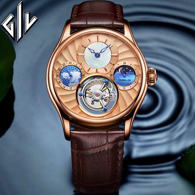 GIV Original Watch Men Tourbillon Mechanical Hand Wind Top Brand Waterproof Luxury Sapphire Business Montre Homme 2020 New