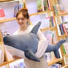 Grand requin géant de 140cm en peluche douce, jouet en peluche, Animal mignon, oreiller de lecture, coussin apaisant, poupée cadeau pour enfants et bébé