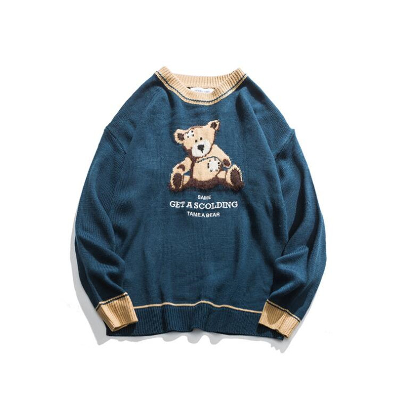 2020 Retro Men Sweaters Retro Teddy Bear Pattern Acrylic Oversize Hip Hop Streetwear Harajuku Autumn New Pullover Men's Sweaters