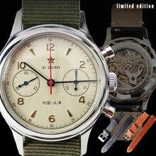 38mm cronógrafo relógio masculino 1963 piloto movimento gaivota st1901 relógios masculino 40mm relógio de safira militar mecânico montre homme