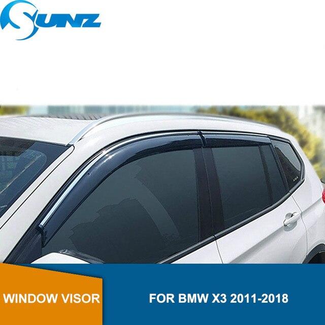 Deflectores de ventana lateral, para BMW X3, 2011, 2012, 2013, 2014, 2015, 2016, 2017, visera de humo, protector de lluvia, SUNZ