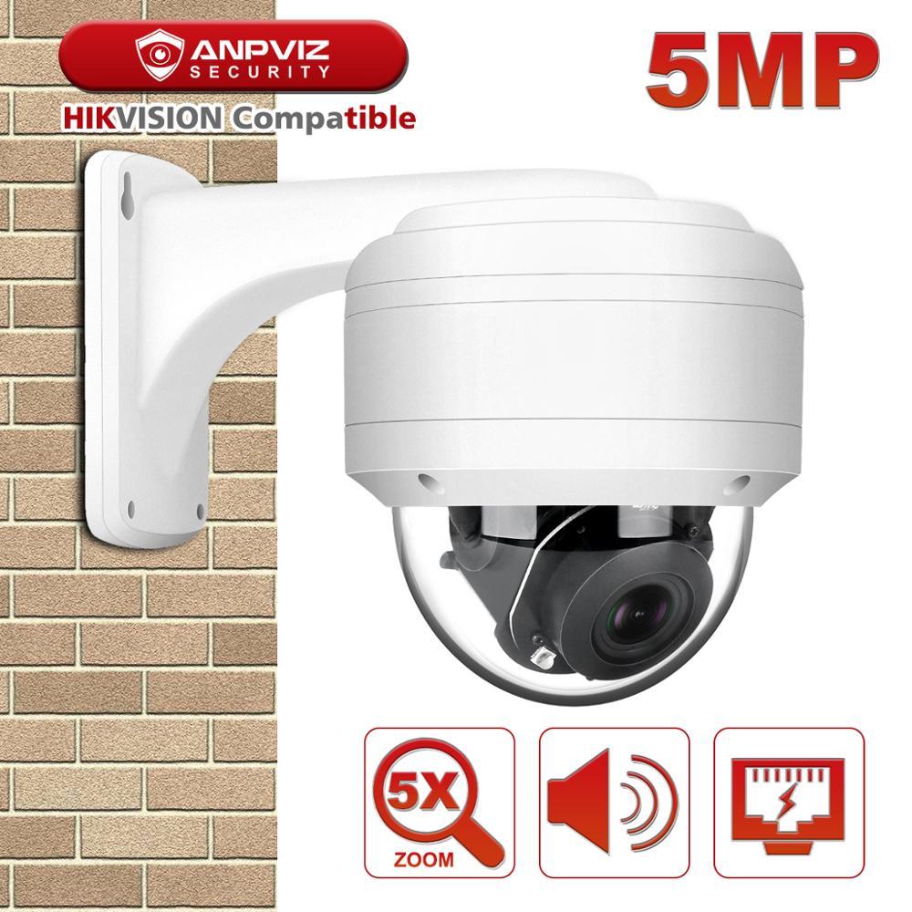 Hikvision compatível anpviz 5mp poe ip ptz câmera 5x zoom embutido microfone de áudio ao ar livre câmera de segurança ir 30m onvif ip66