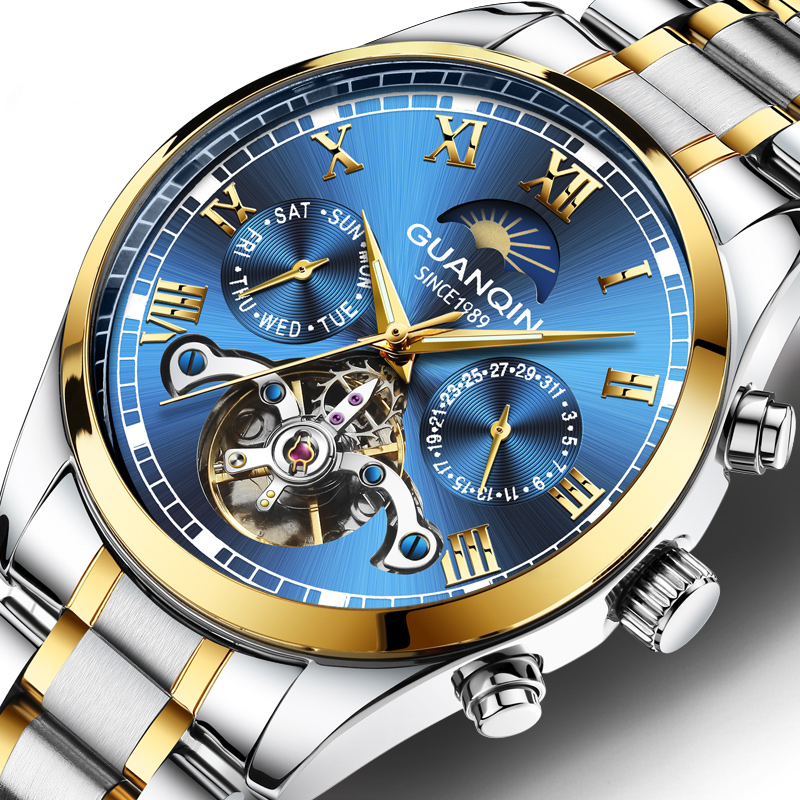 Guanqin Business Watch Men Automatic Mechanical Tourbillon Deep Blue Watch Mens Luminous Calendar Date Clock Relogio Masculino