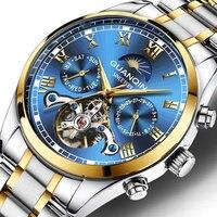 Guanqin relógio de negócios masculino automático mecânico tourbillon azul profundo relógio masculino calendário luminoso data relógio relogio masculino|Relógios mecânicos| |  -
