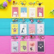 1pc Cartoon Cute Work ID Card Holder Transparent Case Pouch Bus Wallet Travel Men Women Bank Protection Cover Bag Box
