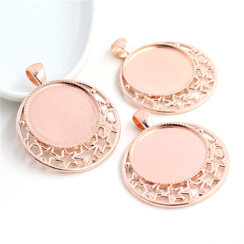 High Quality 5pcs 25mm Inner Size Rose Gold Color Plated Cameo Base Setting Stars Style Pendant (A6-38)