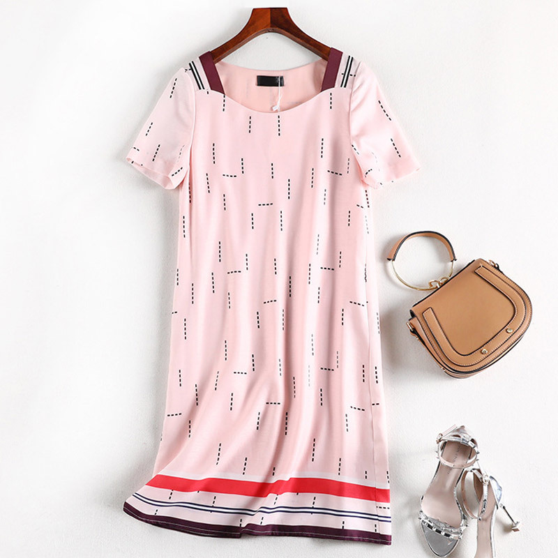 Lan Mu Square Chubby Mm Summer Wear French Fu Gu Qun Large Size Dress Belly Covering Dress Loose-Fit A- Line Skirt 10085