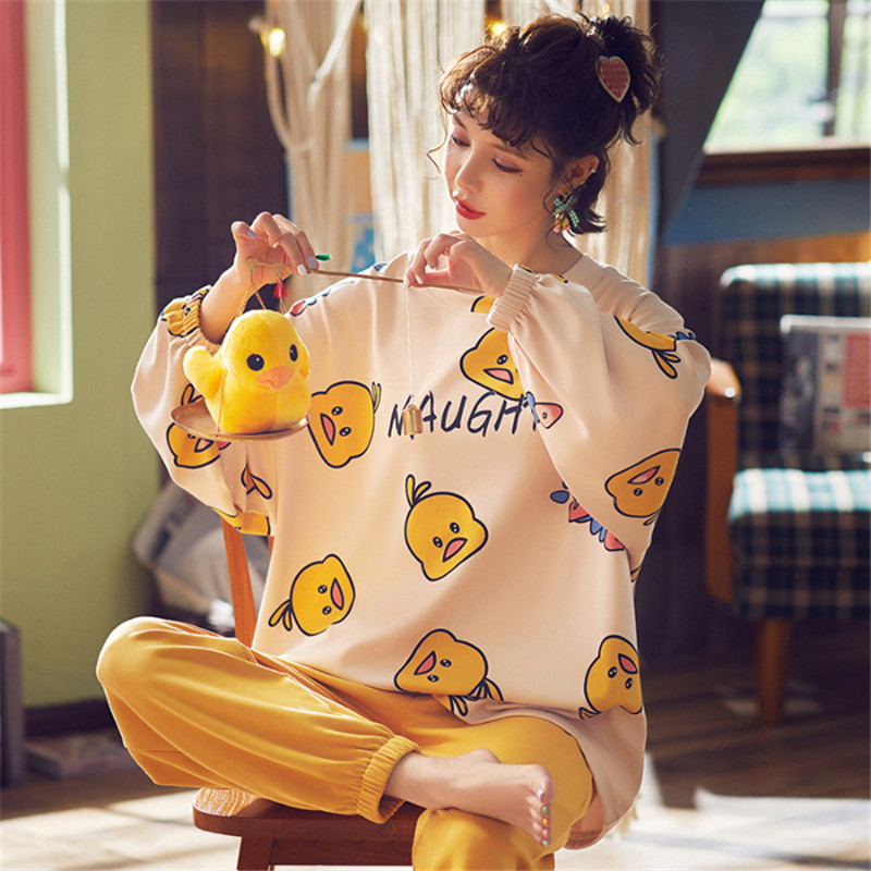 Autumn And Winter Pajamas For Women 2019 New Cute Cartoon Duck Animal Pajamas Set 2 Pieces Long Sleeve Sleepwear Home Service
