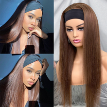 Straight Headband Wigs Brown Color #4 Human Hair Brazilian Full Machine Made Human Hair Wigs With Headband Glueless No Lace Wig