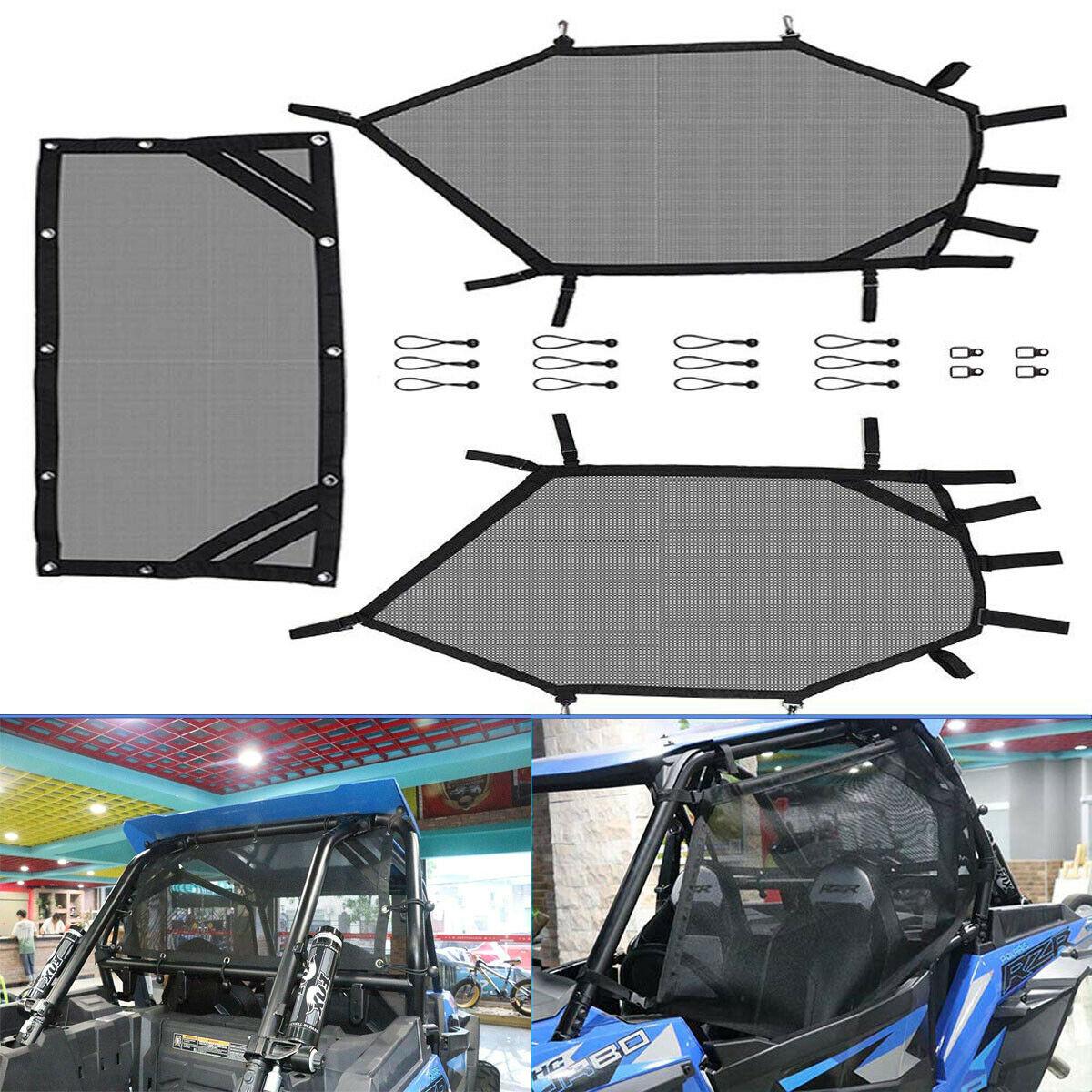 UTV Left Right & Rear Window Net/Shield Set For Polaris RZR 1000 900 RZR XP For Honda Talon For Kawasaki Mule For Yamaha Rhino