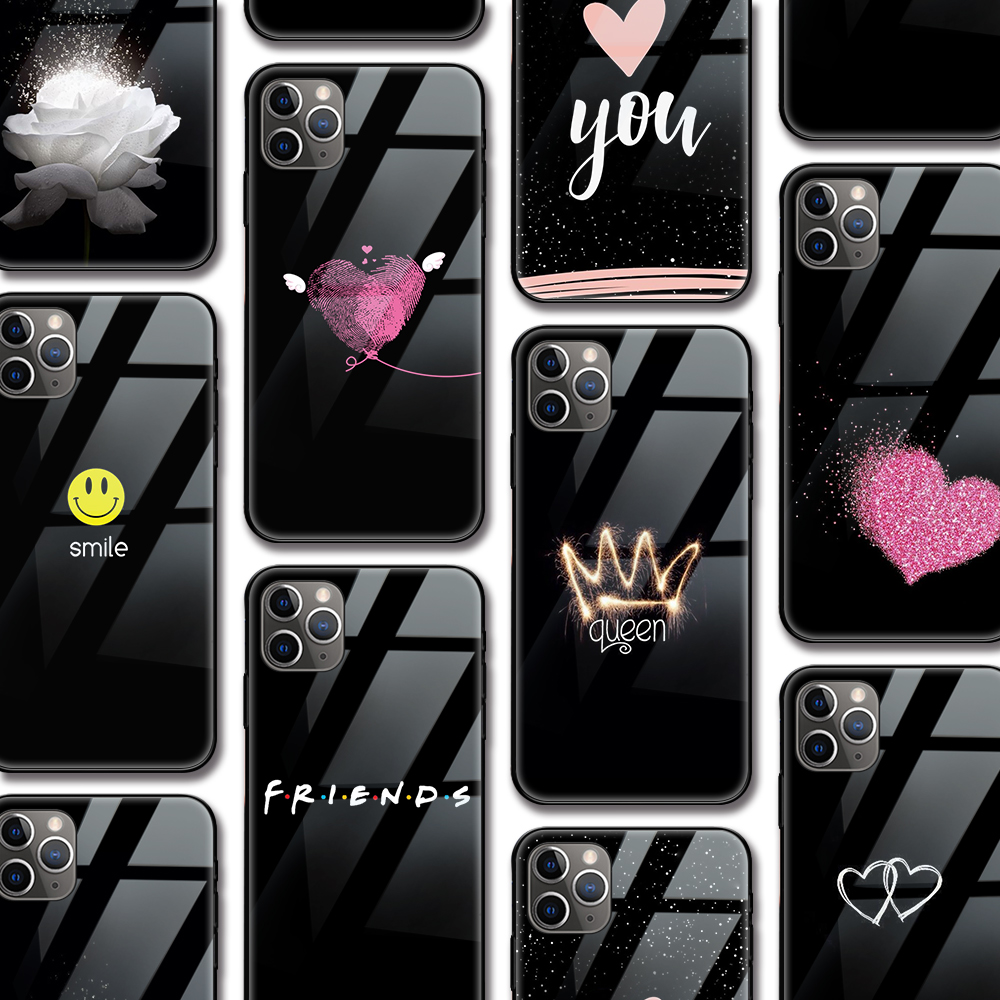Friends Queen Heart Floral Love Case for Iphone 11 case for Iphone 11 XR Pro XS MAX X 7 8 6 6S Plus SE 2020 Tempered Glass Cover