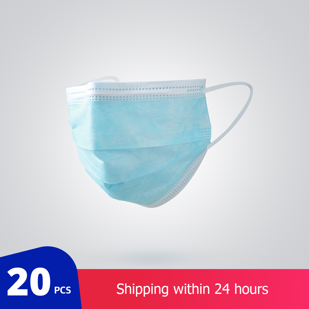 20 Pcs/Bag 3 Layer Non-woven Dust Mask Thickened Disposable Mouth Mask Features As KF94 FFP2