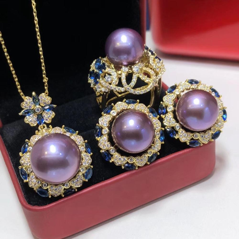 D114 Fine Jewelry Natural Fresh Water Purple Pearls 14-13mm Female's Jewelry Sets for Women FIne Jewelry Sets