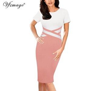 Image 4 - Vfemage vestido ajustado Vintage elegante para mujer, ropa de retazos de colores contrastantes para trabajar, fiesta de negocios, oficina, 1998