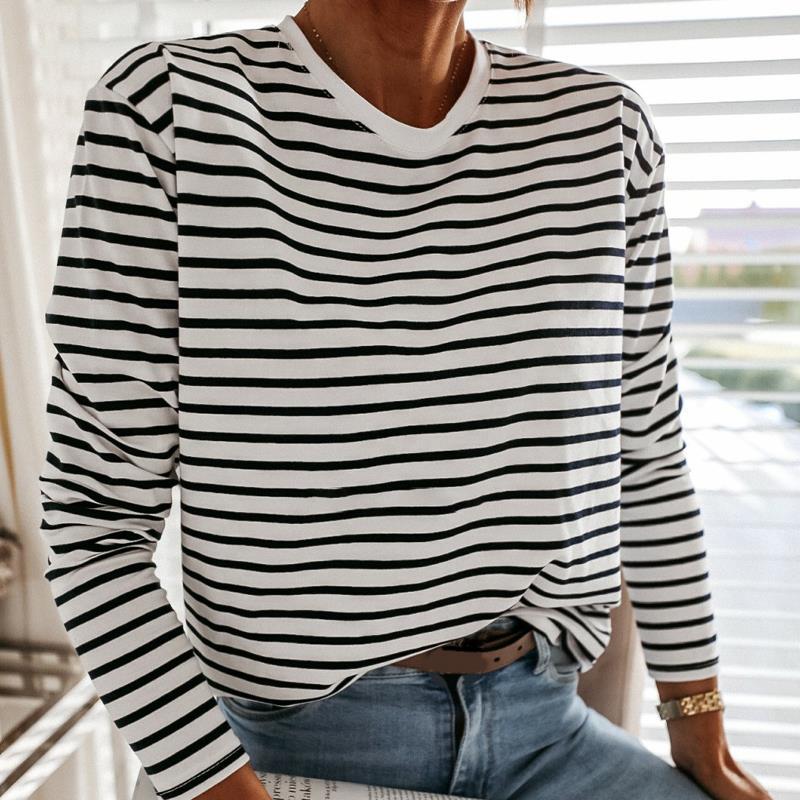 Women Fashion Black And White Striped Blouse Shirt Casual Long Sleeve O-neck Soft Korean Shirt Ladies Women T-Shirt Spring 2021