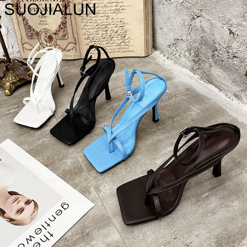 SUOJIALUN Gladiator Sandals High Heels Sandal Shoes Fashion Brand Strap Flip Flops Sexy Thin High Heel Pumps Square Toe Shoes