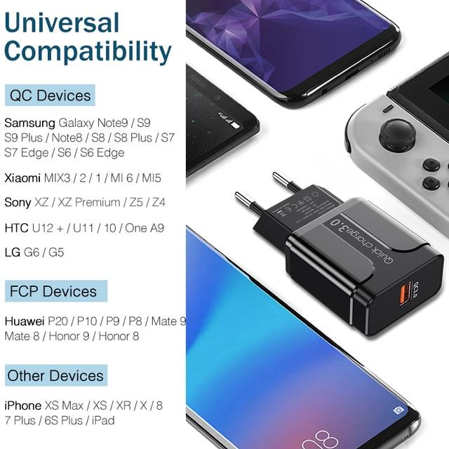 YKZ Carica Rapida 3.0 18W di CONTROLLO di qualità 3.0 4.0 di trasporto Veloce del caricatore del USB di Ricarica portatile Caricatore Del Telefono Mobile Per il iPhone Samsung xiaomi Huawei 5
