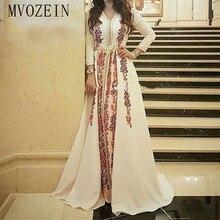 Elegante Marokkanischen Kaftan Abendkleid Stickerei Spitze Muslimischen Abendkleider Lange Ärmeln Formale Partei Kleider robe de soiree