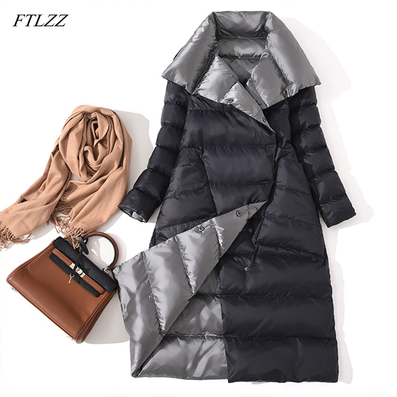FTLZZ New Women Double Sided Down Long Jacket Winter White Duck Down Coat Double Breasted Warm Parkas Snow Outwear