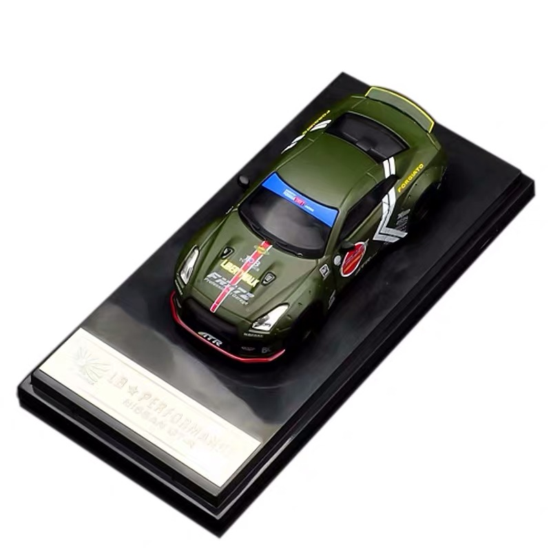 LB Performance Nissan GTR R35 Skyline GT Car Liberty Walk Japan Zero Green Diecast Toy 1:64 Model Car Vehicle With Case