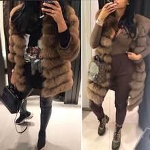 Novo casaco de pele de raposa real feminino natural real casacos de pele colete inverno outerwear roupas femininas