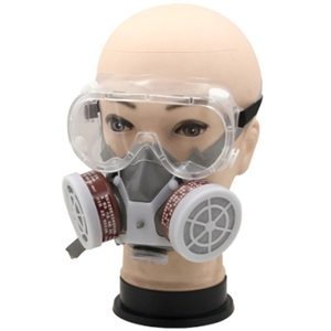 Image 4 - Painting Spray Gas Mask Respirator Anti Dust Mask with Protective Glasses Breathing Valves Replaceable Carbon Filter Light