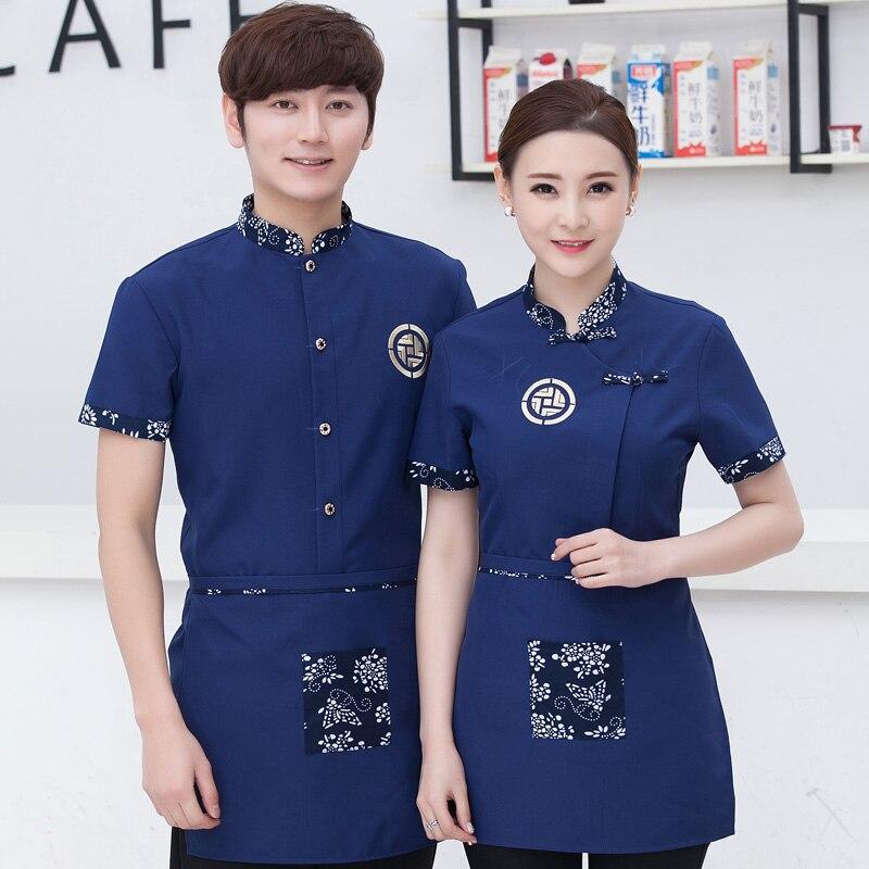 Summer Uniforms Western Restaurant Waiter Work Wear Short Sleeved Overalls Female Hotel Restaurant Work Clothes