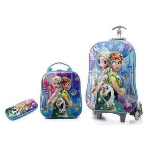 Image 4 - 2018 新子供のバックパック子供の学校のバックパックとホイールトロリー荷物子供のバックパック子供のギフトバッグ