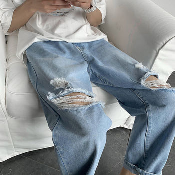2020 Mens Cool Blue Jeans Streetwear Ripped Destroyed Stretch Korean Hip Hop Pants With Holes Men Fashion Kpop Caro Jeans Male image