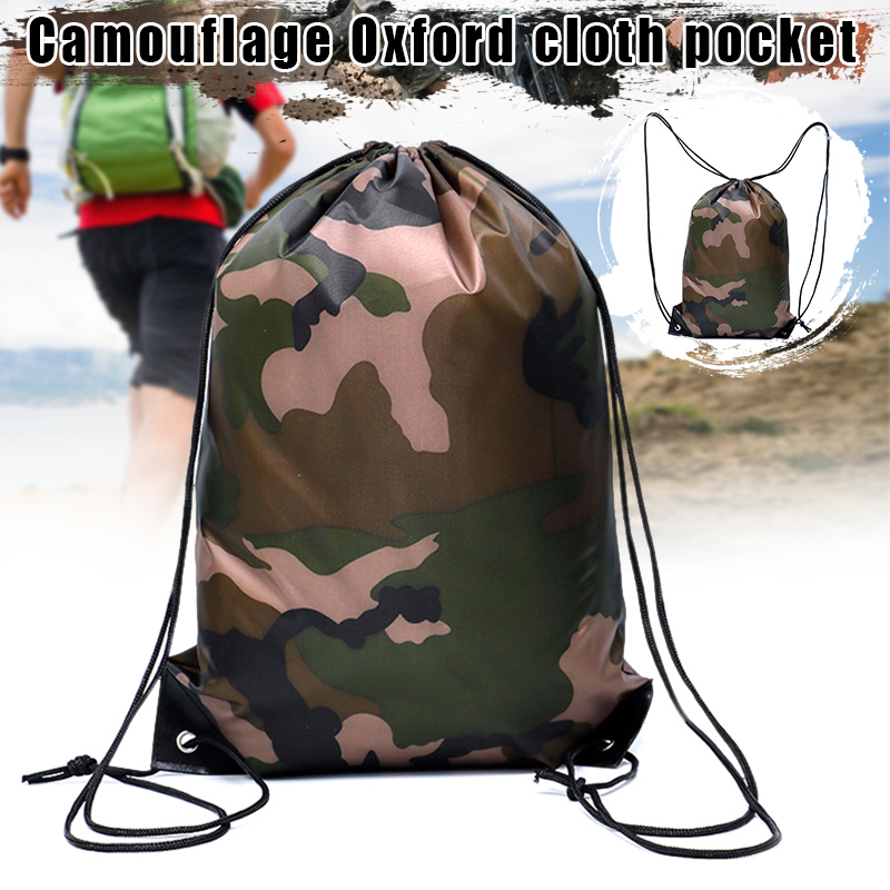 Camouflage Backpack Drawstring Gym Bag Travel Sport Outdoor Bag Lightweight BHD2