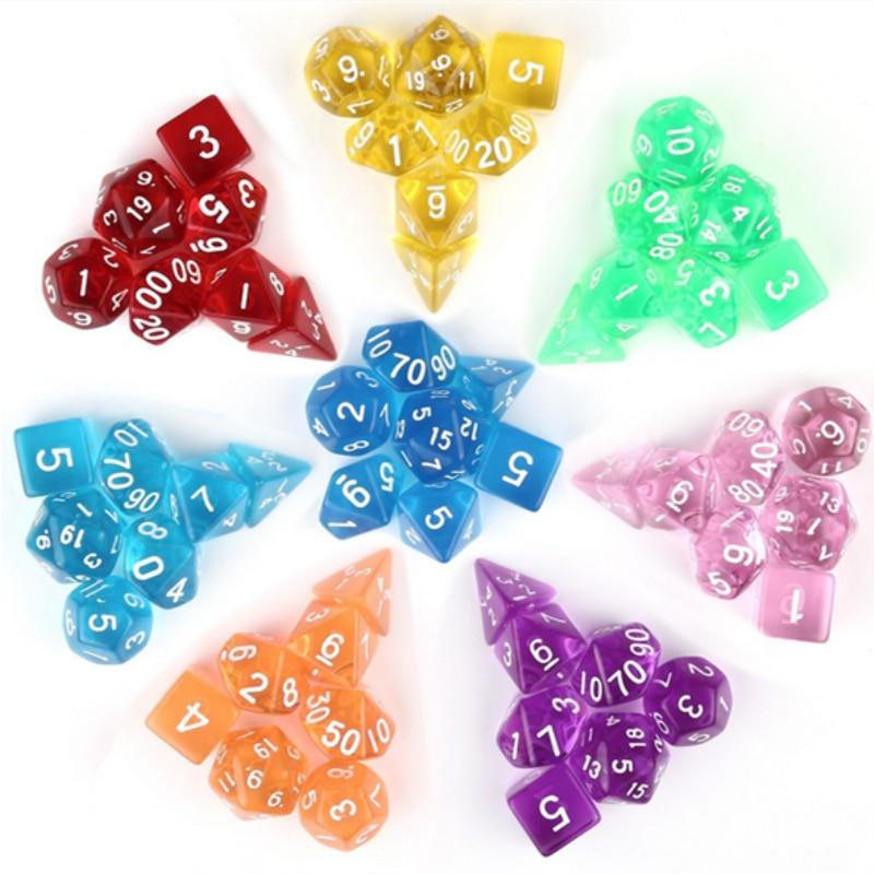 Wholesales 7pc/lot Dice Set D4,D6,D8,D10,D10%,D12,D20 Colorful Accessories For Board Game,DnD, RPG