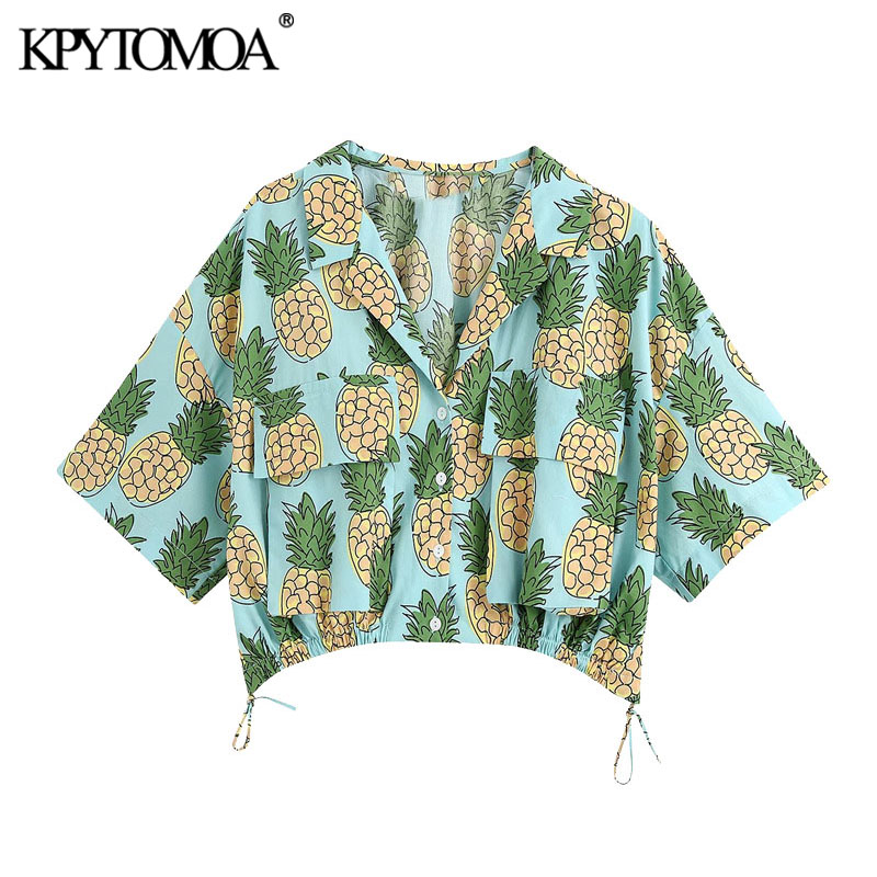 KPYTOMOA Women 2020 Fashion Pineapple Print Cropped Blouses Vintage Short Sleeve Adjustable Tied Female Shirts Blusas Chic Tops