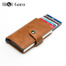 BISI GORO 2020 Business Men Button Wallet RFID Money Bag High Quality Metal Aluminum Wallet Slim Wallet Carteira Dropshipping(China)