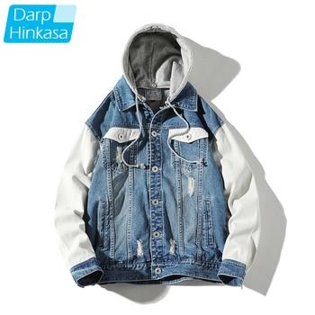 DARPHINKASA Men Hooded Denim Jacket Hole Stitching High-quality Cotton Denim Jacket Hip-hop Casual Jacket Men Large Size 5XL