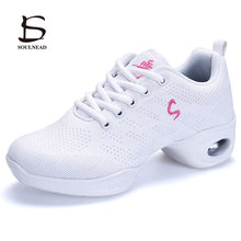Womens  Jazz Dance Sneakers Female Mesh Breathable Modern Dancing Shoes For Woman Ladies Outdoor Fitness Sports Shoe Size 34-41