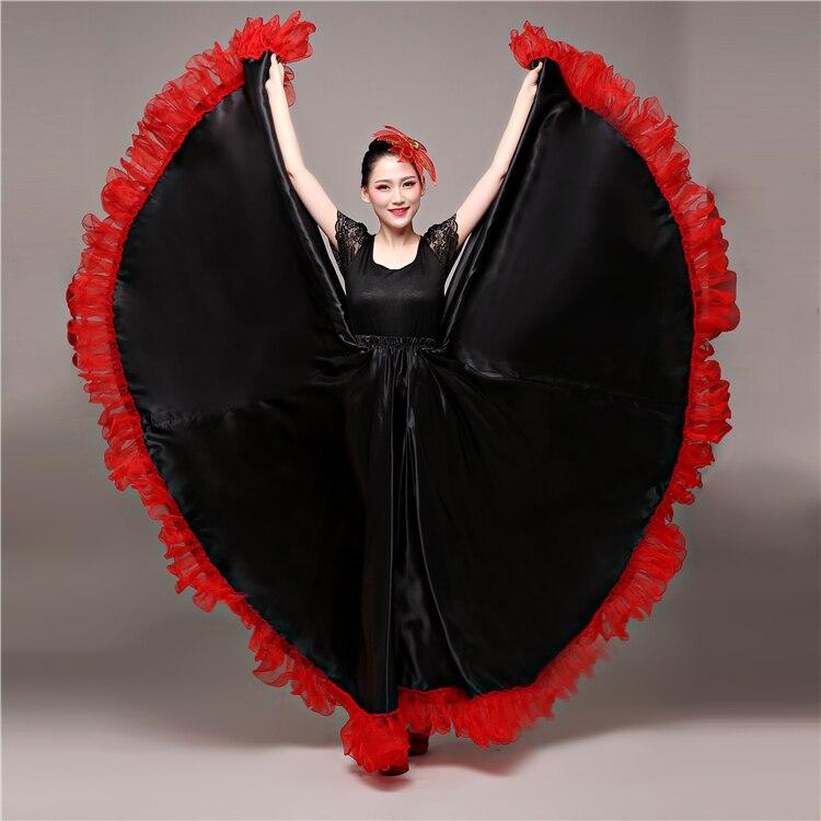 Gypsy Stage Wear Performance Spanish Bullfighting Flamenco Long Skirt Ballroom Art Style Women Satin Belly Dance Skirt Costume