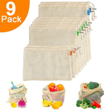 לשימוש חוזר לייצר שקיות מכולת קניות אורגני כותנה רשת ירקות פירות שקיות מכונת רחיץ קל Foladable תיק