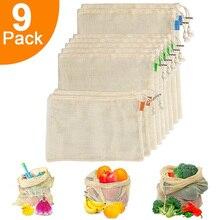 Yeniden kullanılabilir çanta bakkal alışveriş için organik pamuk örgü sebze meyve çanta makinesi yıkanabilir hafif katlanabilir çanta
