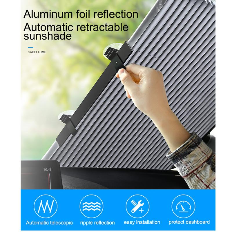 Car Windshield Sun Visor Sunshade Insulation Automatic Retractable Shading Front Curtain Sunscreen