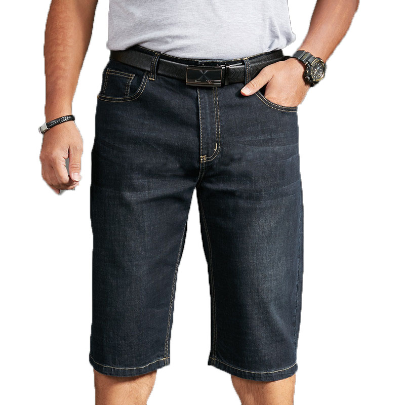 Men's Denim Shorts 2020 Summer Breeches Cotton Bermuda Male Large Size Half Pant Black Stretch Casual Knee Length Jean Men Short