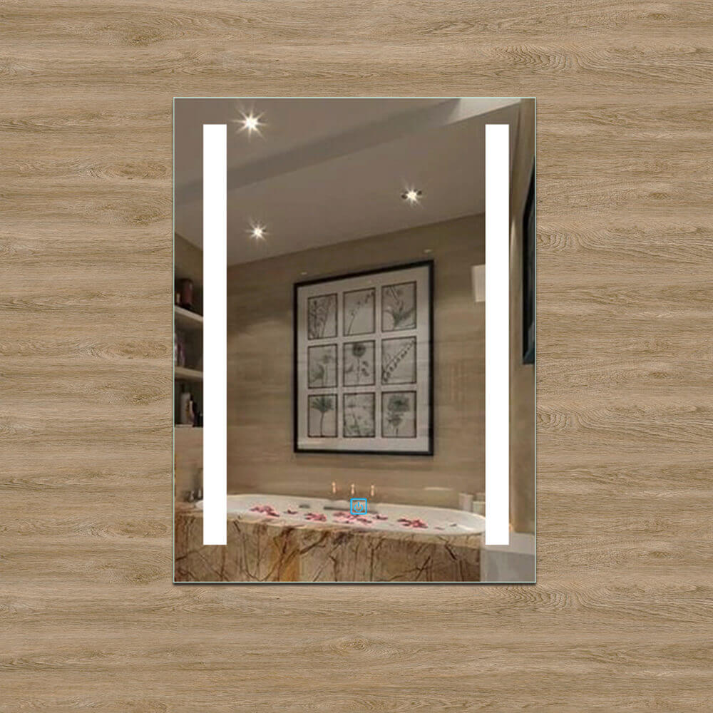 Led Bathroom Mirror Frameless Upright Makeup Anti-fog Sensor Checkpoint One-touch