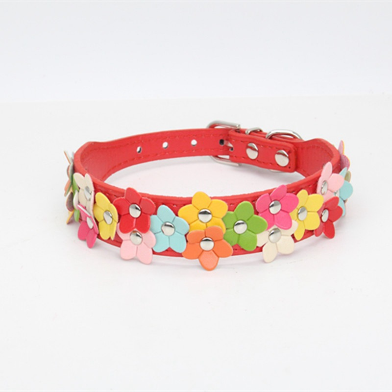 Pet Supplies Pet Dog Neck Ring Fashion Colorful Flowers Genuine Leather PU Pet Collar Traction