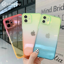 Gradient Transparent Phone Case For iPhone 11Pro 12 Pro Mini Max X XR XS Max 7 8 SE 2020 Solid Color Soft TPU Silicon Back Cover