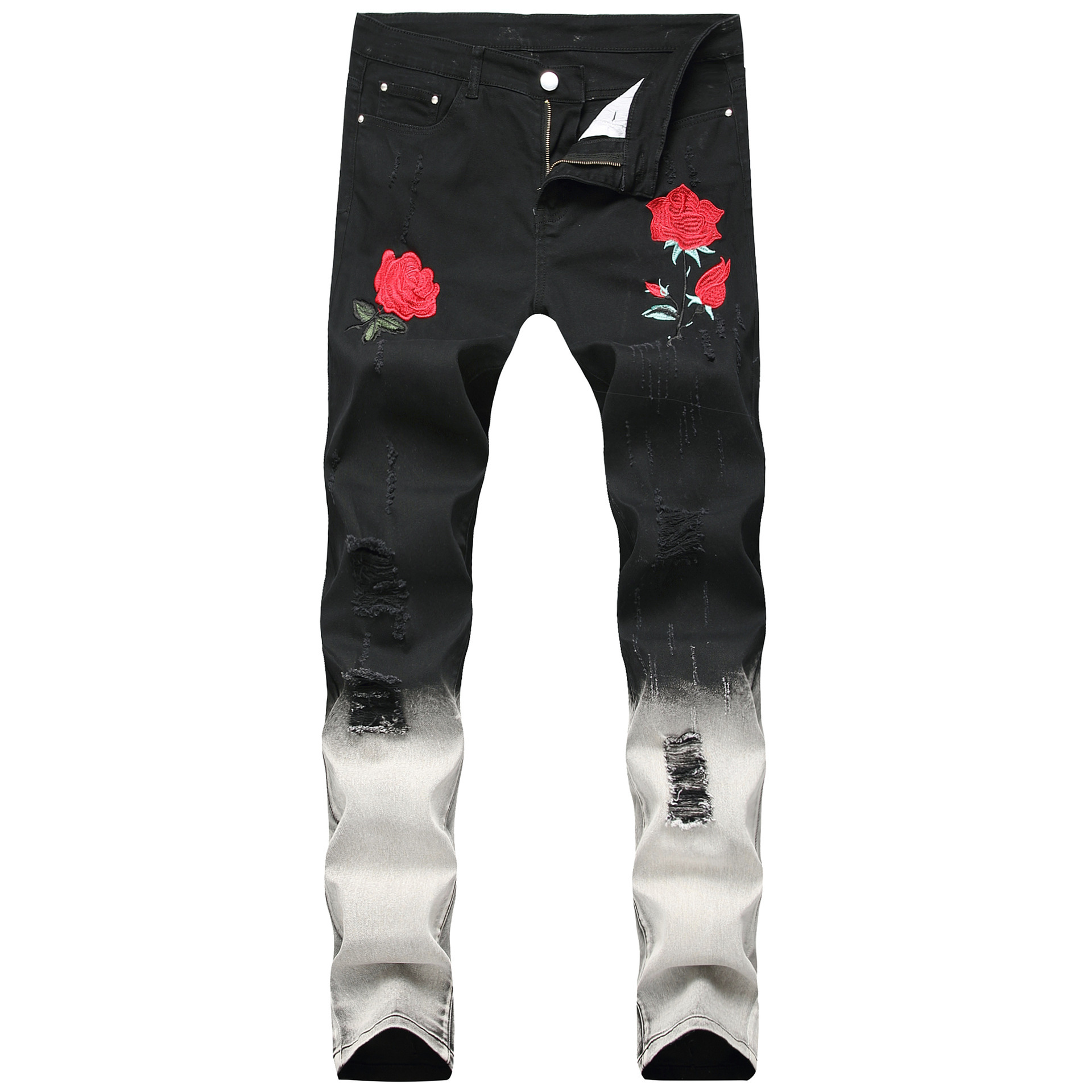 Men's Wear Embroidery Rose Jeans With Holes Casual Fashion Men's Trousers