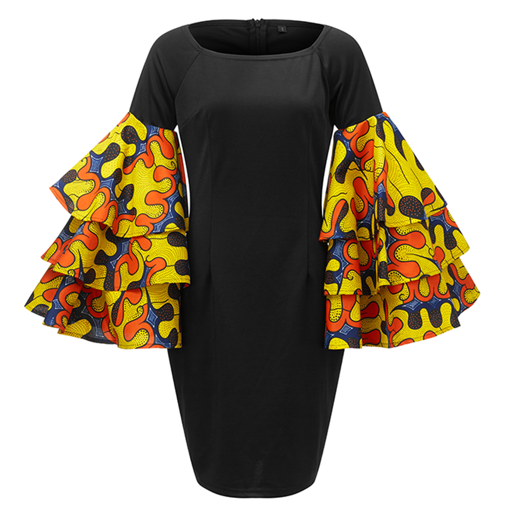 African Dresses for Women ankara Dresses cotton Elastic black slim dress 2020 Women African clothes fashion long sleeve dress